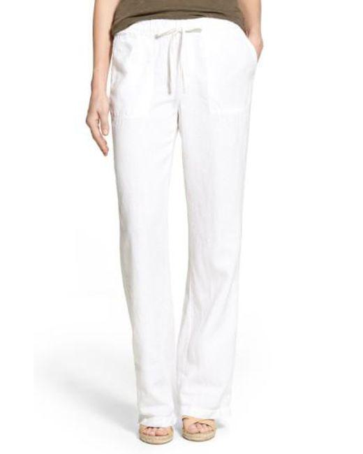 Caslon - White Caslon Drawstring Linen Pants - Lyst