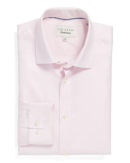 Ted Baker - Pink Endurance Trim Fit Geometric Dress Shirt for Men - Lyst
