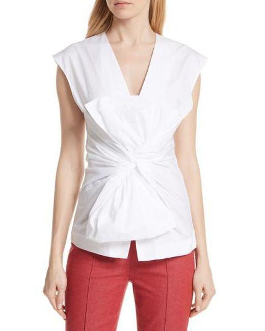Diane von Furstenberg - White Sculptured Bow Front Blouse - Lyst