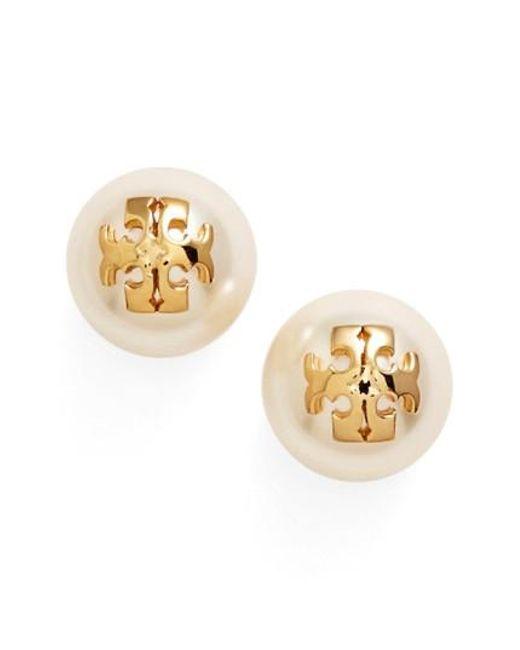 Tory Burch | White Swarovski Crystal Pearl Logo Stud Earrings | Lyst
