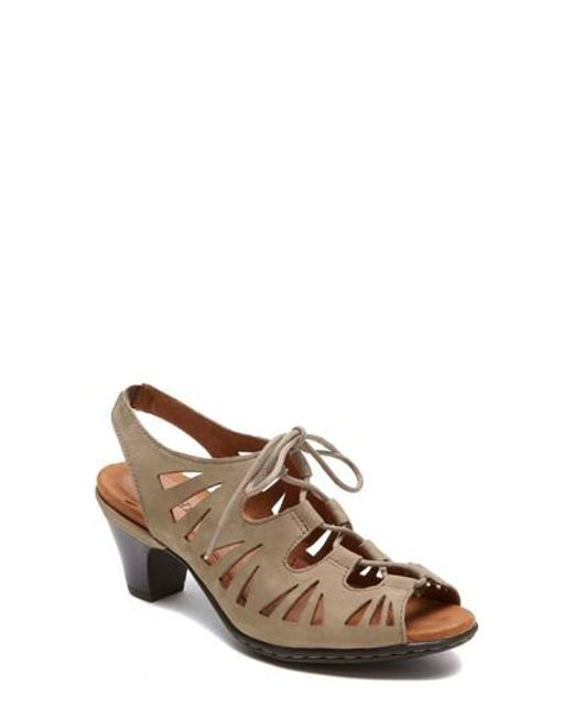 Cobb Hill - Brown Cobb Hill 'sasha' Caged Leather Peep Toe Sandal - Lyst