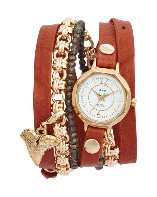 La Mer Collections - Multicolor Del Mar Leather & Chain Wrap Watch - Lyst