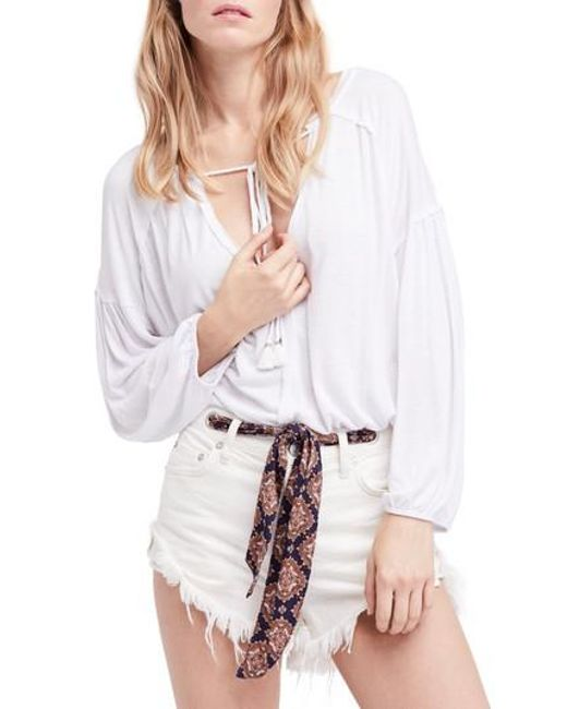 Free People   White Just A Henley Linen Blend Top   Lyst