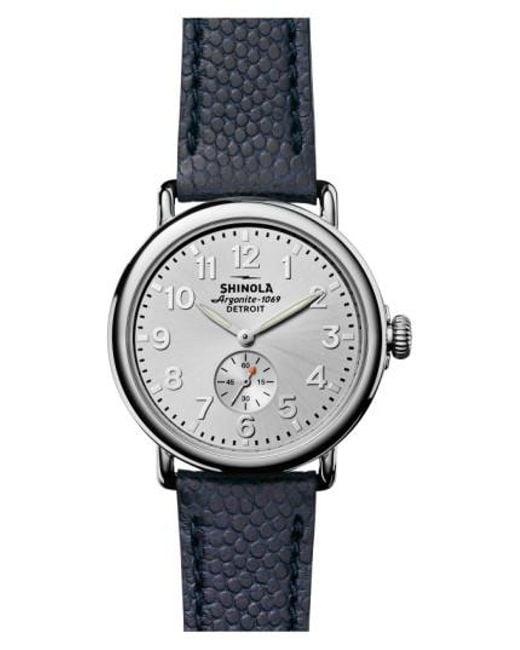 Shinola | Metallic 'the Runwell' Leather Strap Watch | Lyst