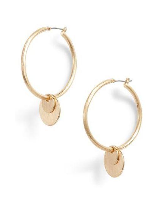 Rebecca Minkoff - Metallic Medallion Hoop Earrings - Lyst