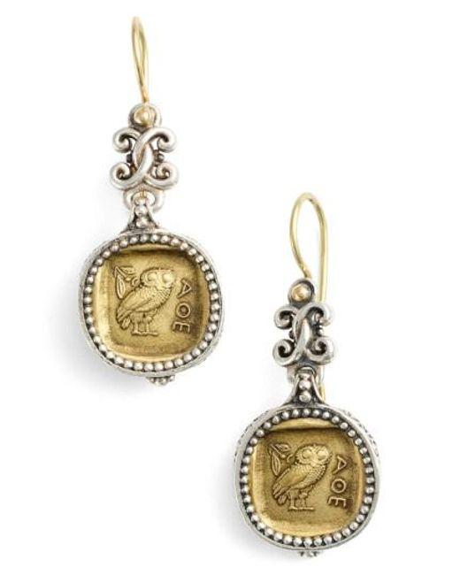 Konstantino | Metallic 'athena Owl' Drop Earrings | Lyst
