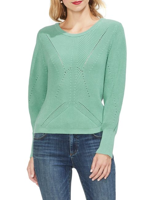 Lyst - Vince Camuto Lace-up Back Sweater in Green 47faa2251