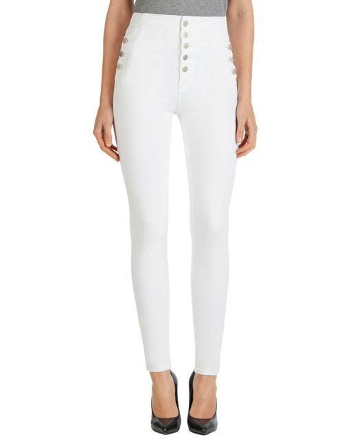 J Brand - White 'natasha Sky High' High Rise Skinny Jeans - Lyst