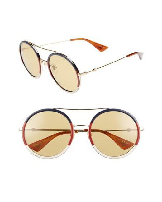 6b80e239892 Gucci 56mm Round Sunglasses in Metallic - Save 1.2820512820512846 ...