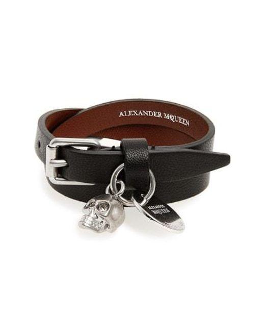 Alexander McQueen - Brown Skull Charm Leather Wrap Bracelet - Lyst