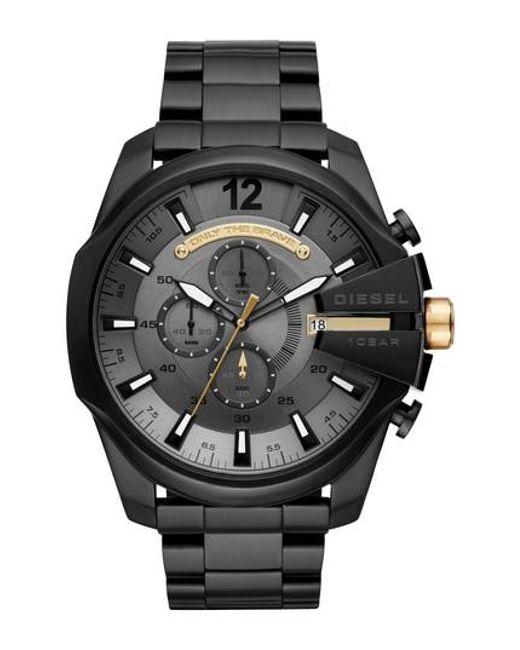 DIESEL - Black Diesel Mega Chief Chronograph Bracelet Watch for Men - Lyst