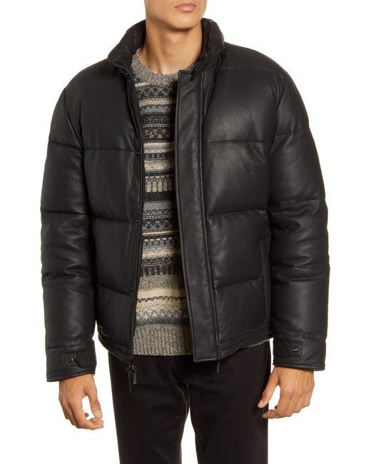 Vince Black Down Leather Puffer Jacket for men