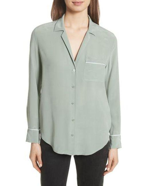 Equipment - Green Keira Piped Silk Shirt - Lyst