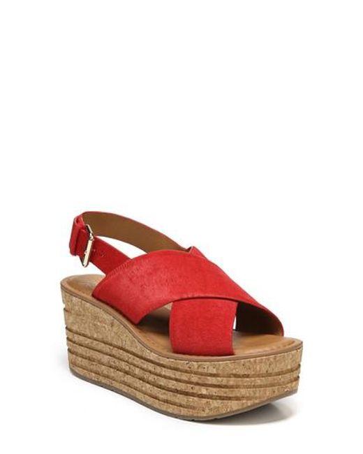 Sarto - Red Caroline Platform Wedge Sandal - Lyst