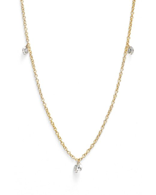 Bony Levy - White 'floating Diamond' 3-diamond Necklace (nordstrom Exclusive) - Lyst