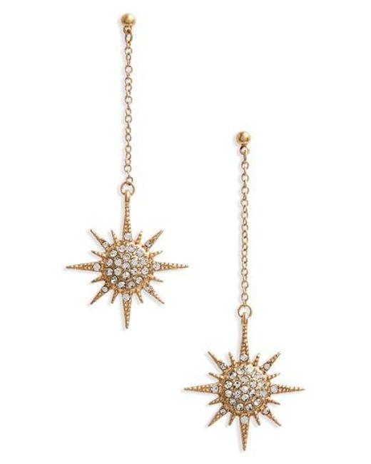SHOSHANNA LEE | Metallic Starburst Crystal Drop Earrings | Lyst