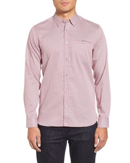 Ted Baker - Pink Vilamor Extra Slim Fit Print Sport Shirt for Men - Lyst