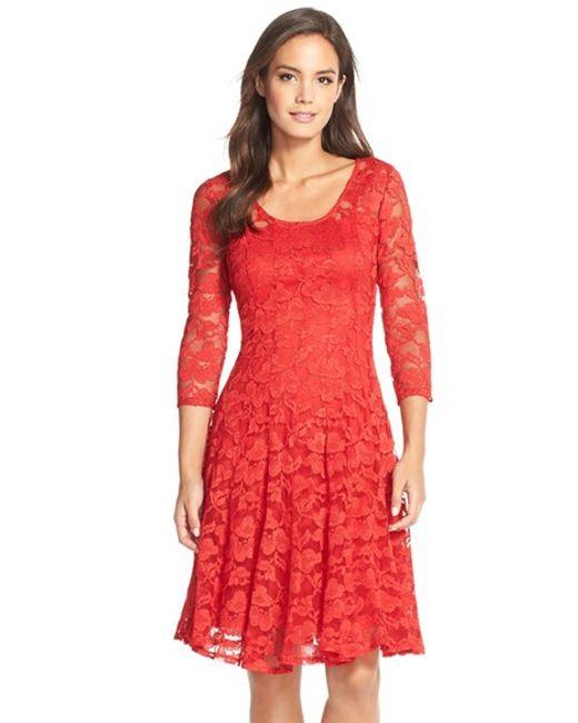 Chetta B | Red 'magic' Lace Fit & Flare Dress | Lyst