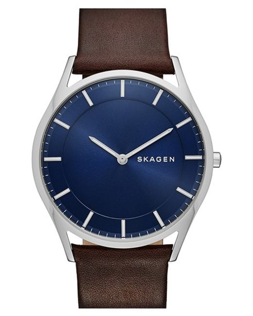 Skagen | Brown 'holst' Round Watch for Men | Lyst