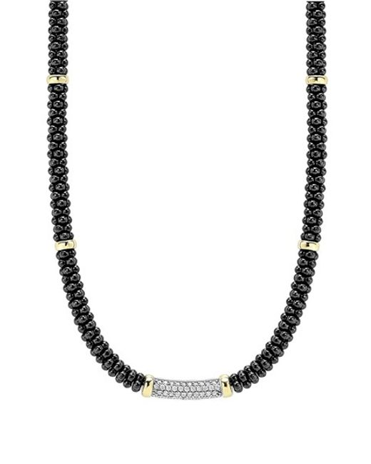 Lagos | Metallic 'black Caviar' 5mm Beaded Diamond Bar Necklace | Lyst