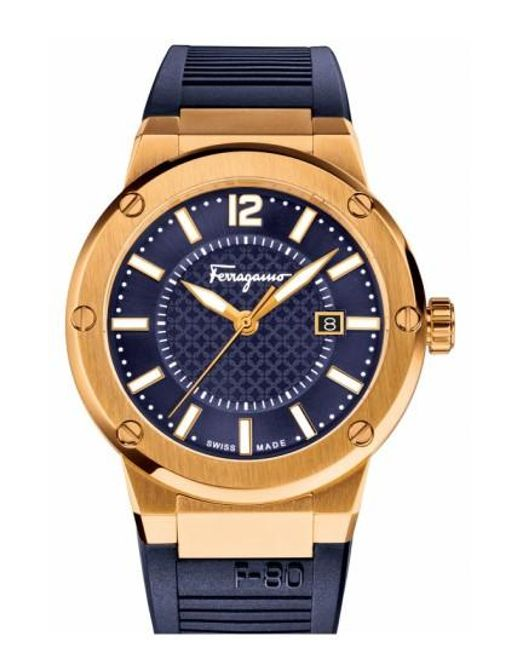 Ferragamo | Blue 'f-80' Rubber Strap Watch for Men | Lyst