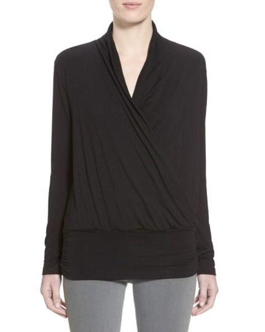 Amour Vert | Black 'angela' Long Sleeve Wrap Front Top | Lyst