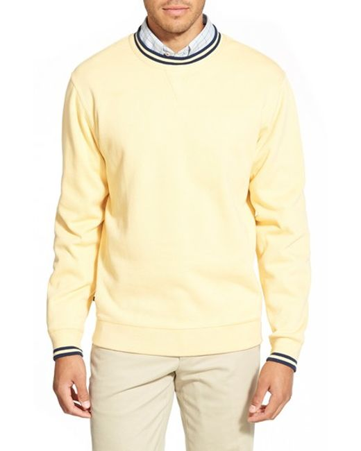 Cutter & Buck | Yellow 'heritage Crew' Pullover Sweatshirt for Men | Lyst