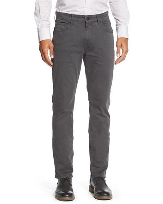 PAIGE | Gray 'federal' Slim Straight Leg Twill Pants for Men | Lyst