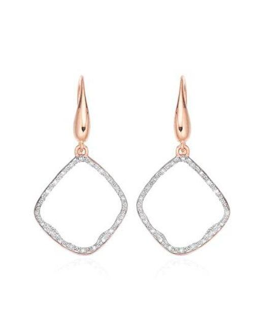 Monica Vinader | Pink 'riva' Diamond Hoop Drop Earrings | Lyst