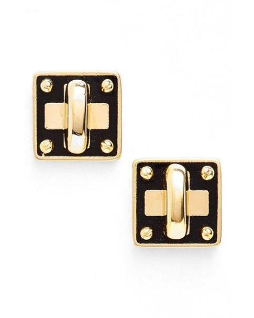 Marc By Marc Jacobs | Metallic 'turnlock' Enamel Stud Earrings | Lyst