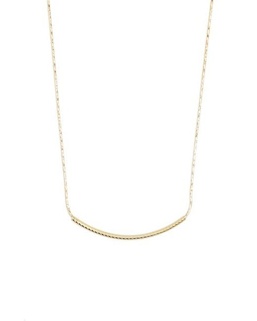 Bony Levy | Yellow 14k Gold Curved Bar Necklace (nordstrom Exclusive) | Lyst