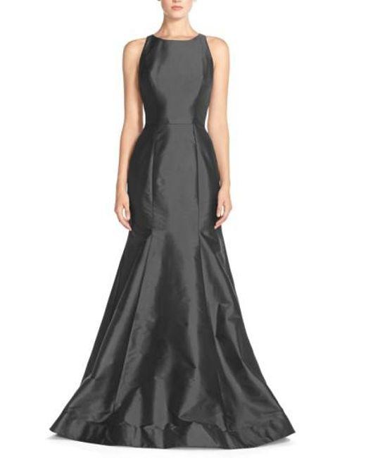 Monique Lhuillier Bridesmaids | Gray Back Cutout Taffeta Mermaid Gown | Lyst