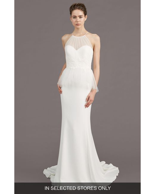 Amsale - White Ruby Crepe Peplum Gown - Lyst