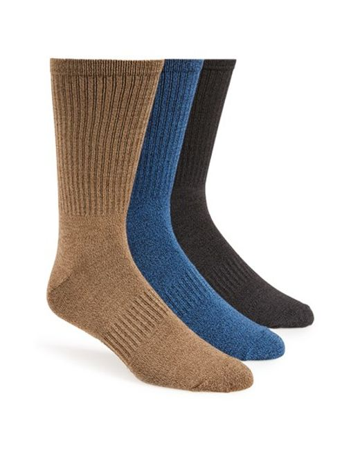 Sperry Top-Sider | Brown Soft Extreme Assorted 3-pack Crew Socks, Black for Men | Lyst