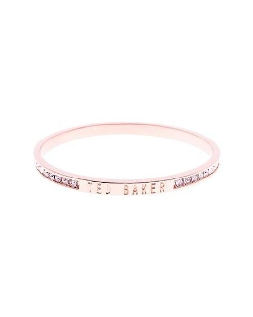 Ted Baker | Pink 'clem' Narrow Crystal Bangle | Lyst
