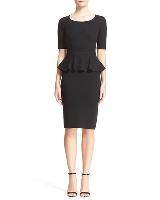 St. John   Black Peplum Milano Pique Knit Dress   Lyst