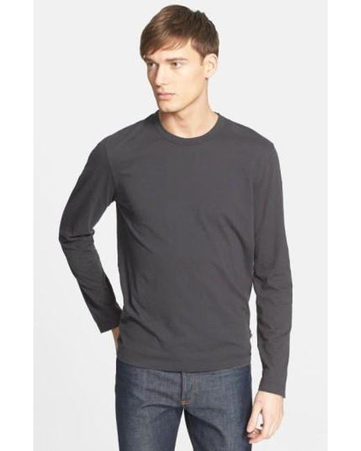 James Perse | Black Long Sleeve Crewneck T-shirt for Men | Lyst