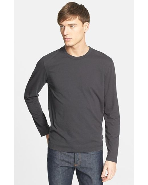 James Perse | Black Long Sleeve Crewneck T-shirt for Men | Lyst