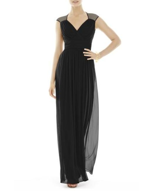 Alfred Sung | Black Shirred Chiffon Cap Sleeve Gown | Lyst