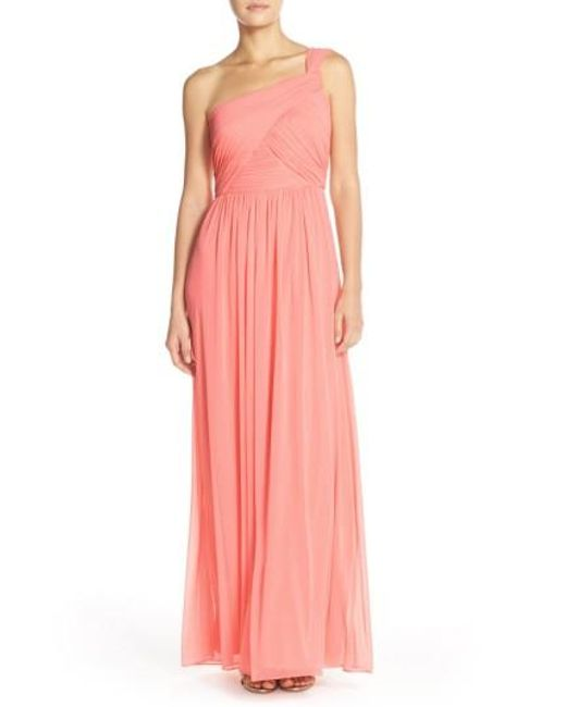 Alfred Sung | Pink One-shoulder Shirred Chiffon Gown | Lyst
