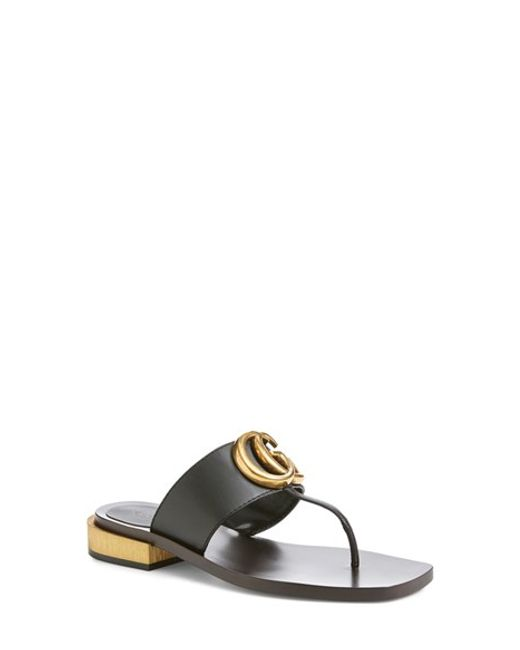 Gucci | Black Marmont Leather Sandals | Lyst