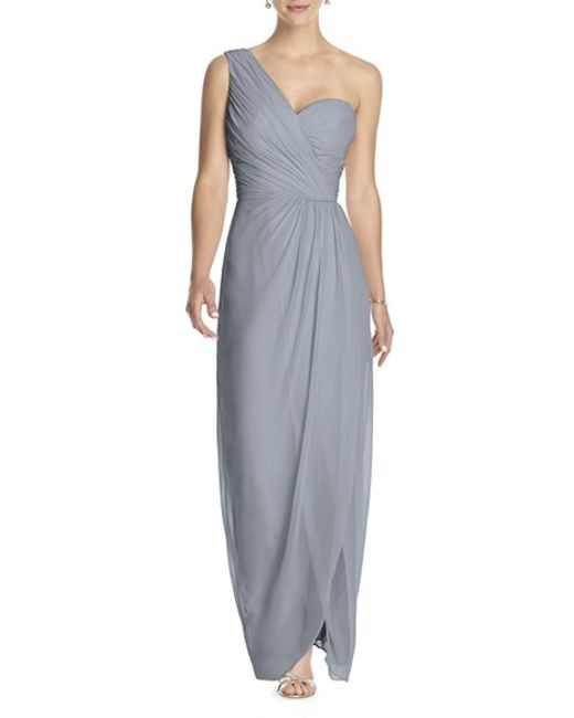 Dessy Collection | Gray One-shoulder Draped Chiffon Gown | Lyst