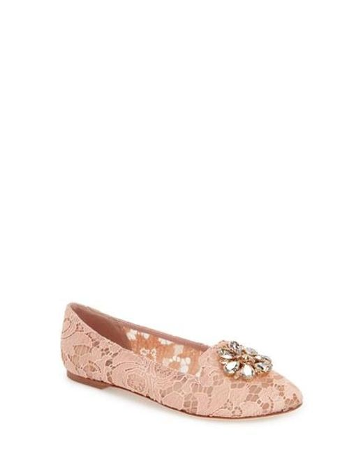 Dolce & Gabbana | Pink Crystal & Lace Pointy Toe Flat | Lyst