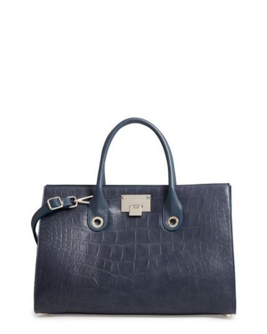 Jimmy Choo | Blue 'riley' Leather Tote | Lyst
