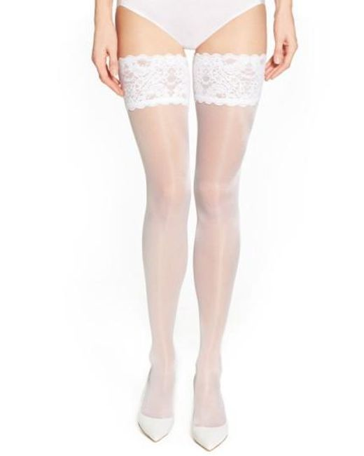 Wolford | White Satin Touch 20 Stay-up Stockings | Lyst