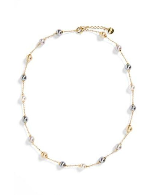 Majorica   Metallic 8mm Pearl Station Necklace   Lyst