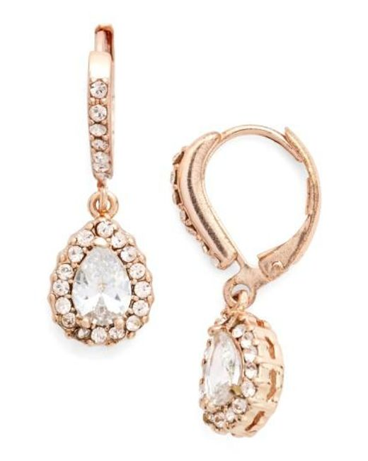 Givenchy | Pink Teardrop Crystal Earrings | Lyst