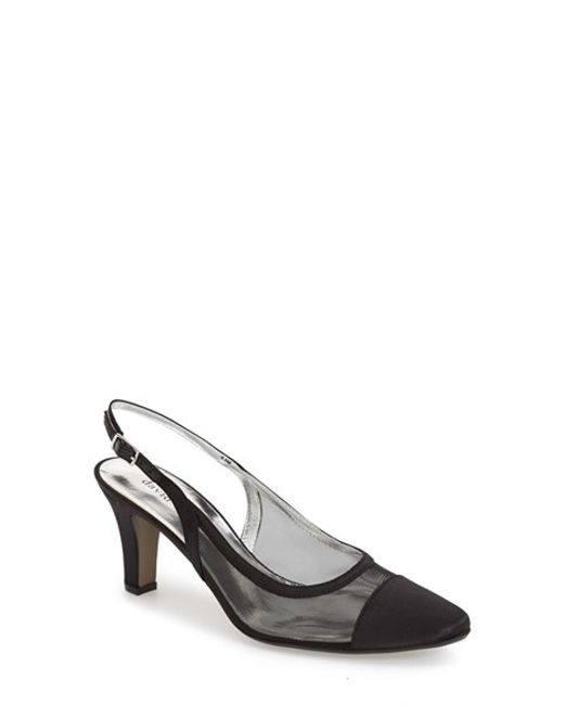 David Tate | Black Vegas Mesh and Satin Pumps | Lyst