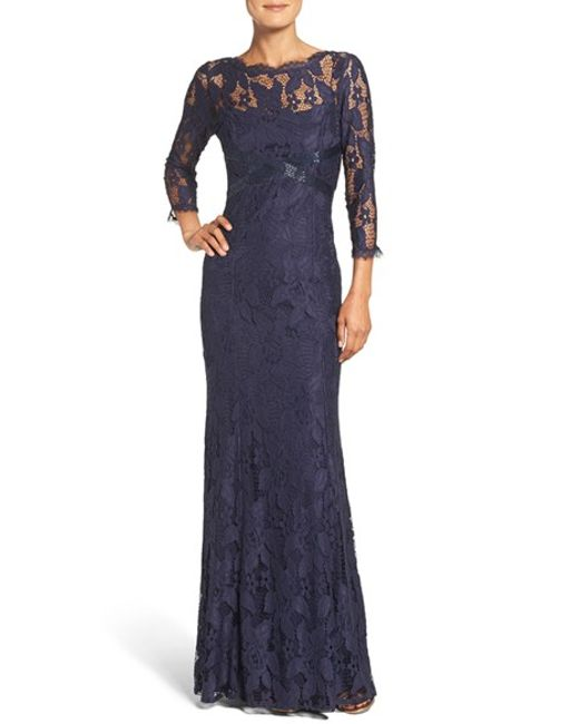 Adrianna Papell Illusion Yoke Lace Gown In Metallic Lyst