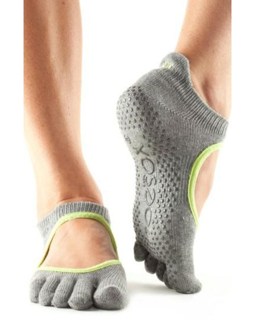 ToeSox   Gray Bellarina Full Toe Gripper Socks   Lyst